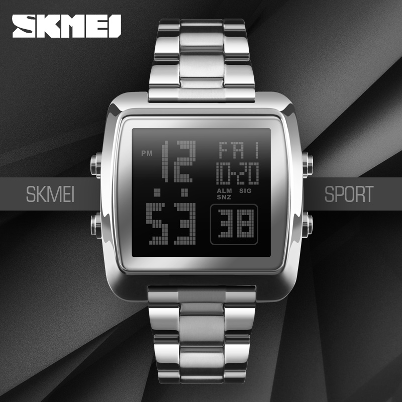 2018 SKMEI 1369 Countdown Two time 12/24 hours display EL Blue Light Big Dial Alloy Stainless Steel Digital Wrist Watch for Man стоимость