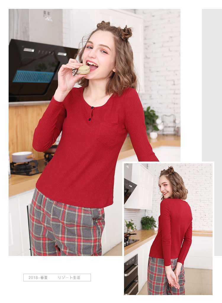 ab35282b78 2018 Women S Pajamas Set Plaid Pattern Cozy Home Suit Pajama From ...