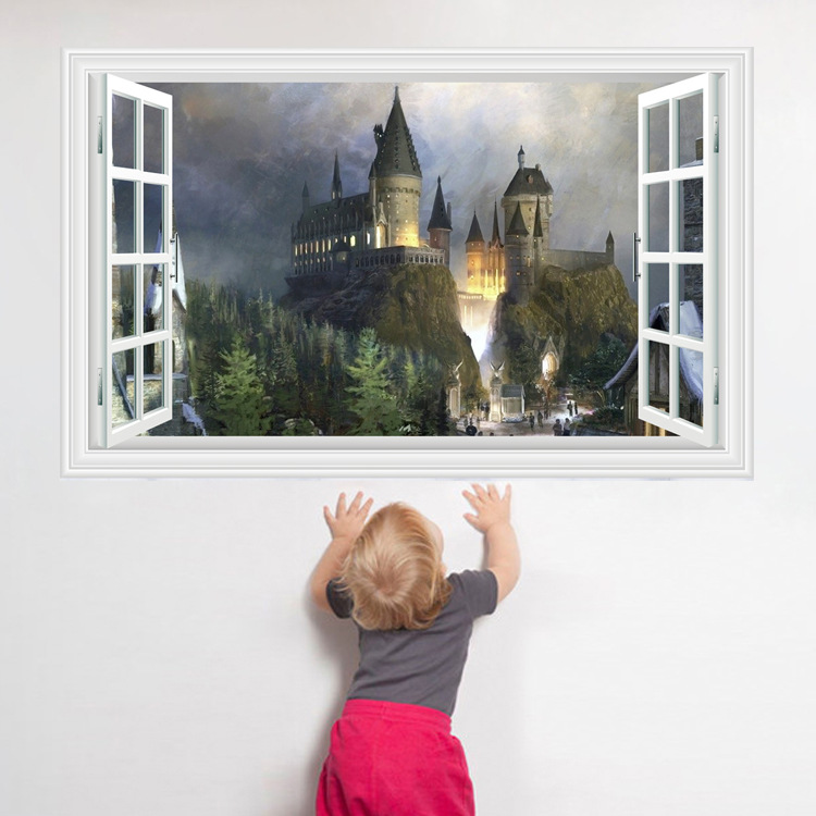 3D-Harry-Potter-Wall-Stickers-School-of-magic-castle-stereo-window-scenery-of-the-living-room