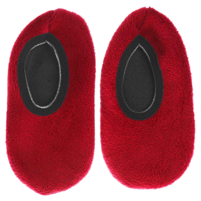 1 คู่เด็กลื่นถุงเท้ารองเท้าแตะ Gripper รองเท้าแตะโยคะสี: ไวน์แดงขนาด: 6-8 ปี
