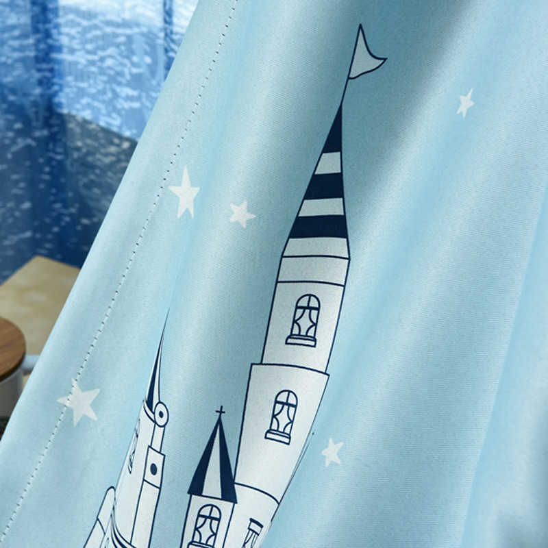 Nice town drapes Curtain Modern Castle Blackout Cloth Bay Window Kids Study Room Children Bedroom Blue Curtain Tulle WP230-30