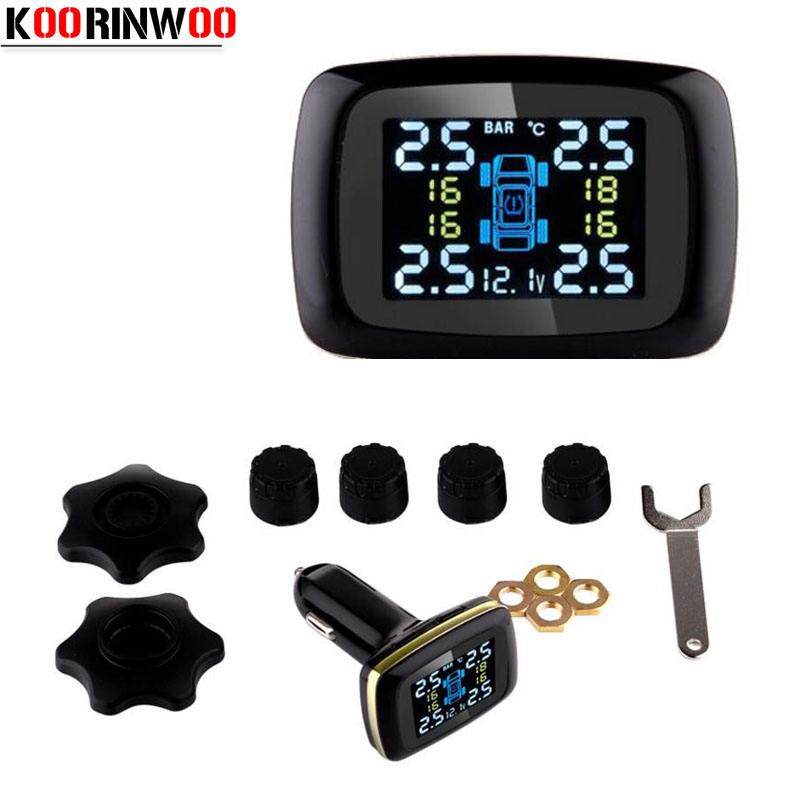 KOORINWOO Wireless Smart Car TPMS 12V Digital Tire Pressure Monitoring System Tire Pressure Alarm External & Internal Sensor