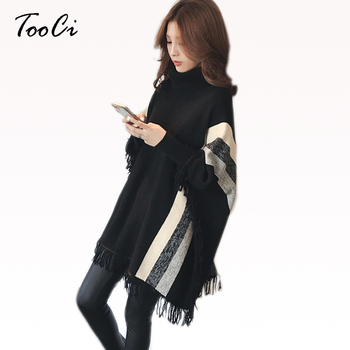 Womens Capes And Ponchoes 2018 Autumn Winter Women Fashion Black Tassel Pullovers Plus Size Women Knitted Sweater