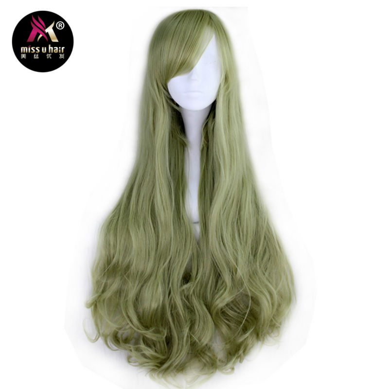 Miss U Hair Women Synthetic 80cm Long Curly Light Pink Green Color Cosplay Halloween Wig Adult