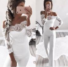 Elegant Off shoulder Lace Rompers Womens Summer Jumpsuit Sexy Ladies Casual Long Trousers Overalls White