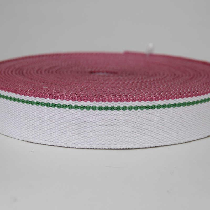 Высокое качество толщиной 3 мм 38 мм широкий хлопковый ленточный ремень белый/зеленый/розовый цвет Лиман лента завод для продажи бисера ткачество Лидер продаж