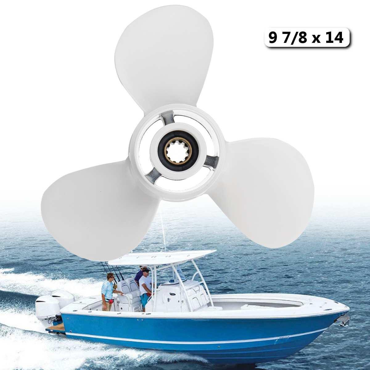 664-45952-00-EL For Yamaha 20-30HP 9 7/8 x 14 Boat Outboard Propeller Aluminum 10 Spline Tooths White 3 Blades R Rotation664-45952-00-EL For Yamaha 20-30HP 9 7/8 x 14 Boat Outboard Propeller Aluminum 10 Spline Tooths White 3 Blades R Rotation