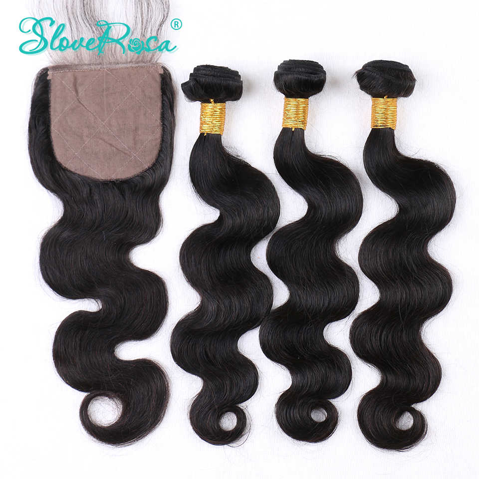 Silk Base Closure With Bundles Body Wave Human Remy Hair Brazilian Lace Closure 4*4 Bleached Knot Pre Bleacked Slove Rosa