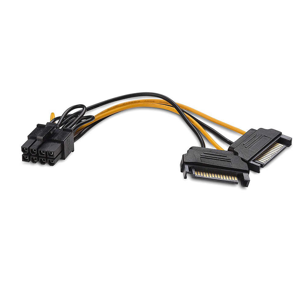 1pc/5pcs Dual 15Pin SATA Male to PCIe 8Pin(6+2) Male Video Card Power Cable 18cm DU55