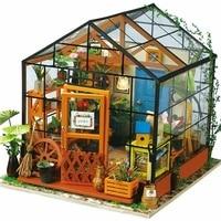 DIY Light House Creative Toys Micro Landscape Wood Model Handmade Assembled Doll Miniature Furniture Kids Birthday