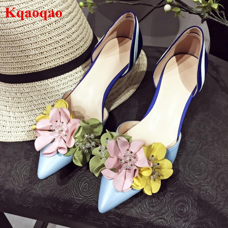 Pointed Toe Women Pumps Flower Decor Sweet Style Chic Lady Shoes Vacation Zapatos Mujer Med Heel Mixed Color Party Runway Shoes pointed toe butterfly knot decor women pumps high heel sapato feminino chic brand runway star shoes bow tie women zapatos mujer