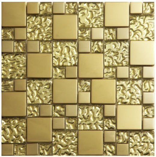 Gold Crystal Glass Metal Mosaics Stainless Steel Tile