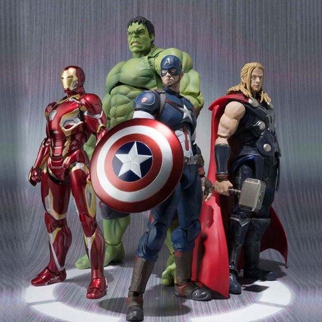 슈퍼 히어로 액션 피규어 16 센치메터 헐크 캡틴 아메리카 아이언 맨 토르 어벤져 2 세 Ultron
