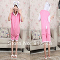 Pink Hello Kitty Summer  for Adults Cartoon Animal Cotton Onesies Pajamas Jumpsuit Hoodies Cosplay Costumes for Adult
