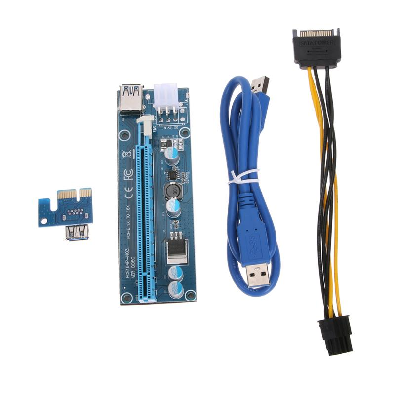 PCI-E PCI Express 1x to 16x Mining Machine Extender Riser Card Board Adapter with 15Pin to 6Pin Power Cable 60cm USB 3.0 Cables new usb3 0 008s pci e riser express 1x 4x 8x 16x extender riser adapter card sata 15pin to 6pin power cable dual power interface