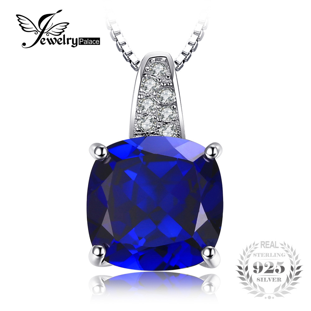 JewelryPalace 4 8 ct Cushion Cut Created Blue Sapphire Pendants For Women 925 Sterling Silver Fine