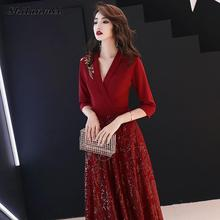 Red Sequin Evening Party Dress Women Vintage Floral Embroidery Maxi Dresses Elegant Solid 3/4 Sleeve Long Formal Femme