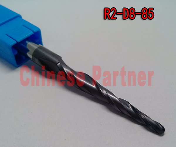 2pc/lot R2*D8*45*85-HRC55 Tungsten solid carbide lengthen Tapered Ball Nose End Mills taper and cone milling cutter hrc55 r0 2 r0 5 r0 75 r1 0 r0 72 taper ball end carbide tungsten solid steel milling cutter alloy taper endmill