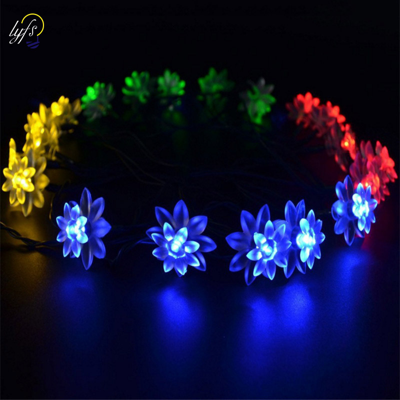 Feimefeiyou Newest Remote Battery Operated Lotus String Light 2m 20 LED Flower Fairy Light String For Indoor And Outdoor