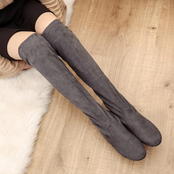 2018 Slim Boots Sexy Over The Knee High Suede Women Snow Boots Women's Fashion Winter Thigh High Boots Shoes Woman Botas Mujer 1