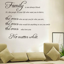 Fast shipping family is not blood warm quote wall stickers home decor vinyl art decals sticker wedding decoration