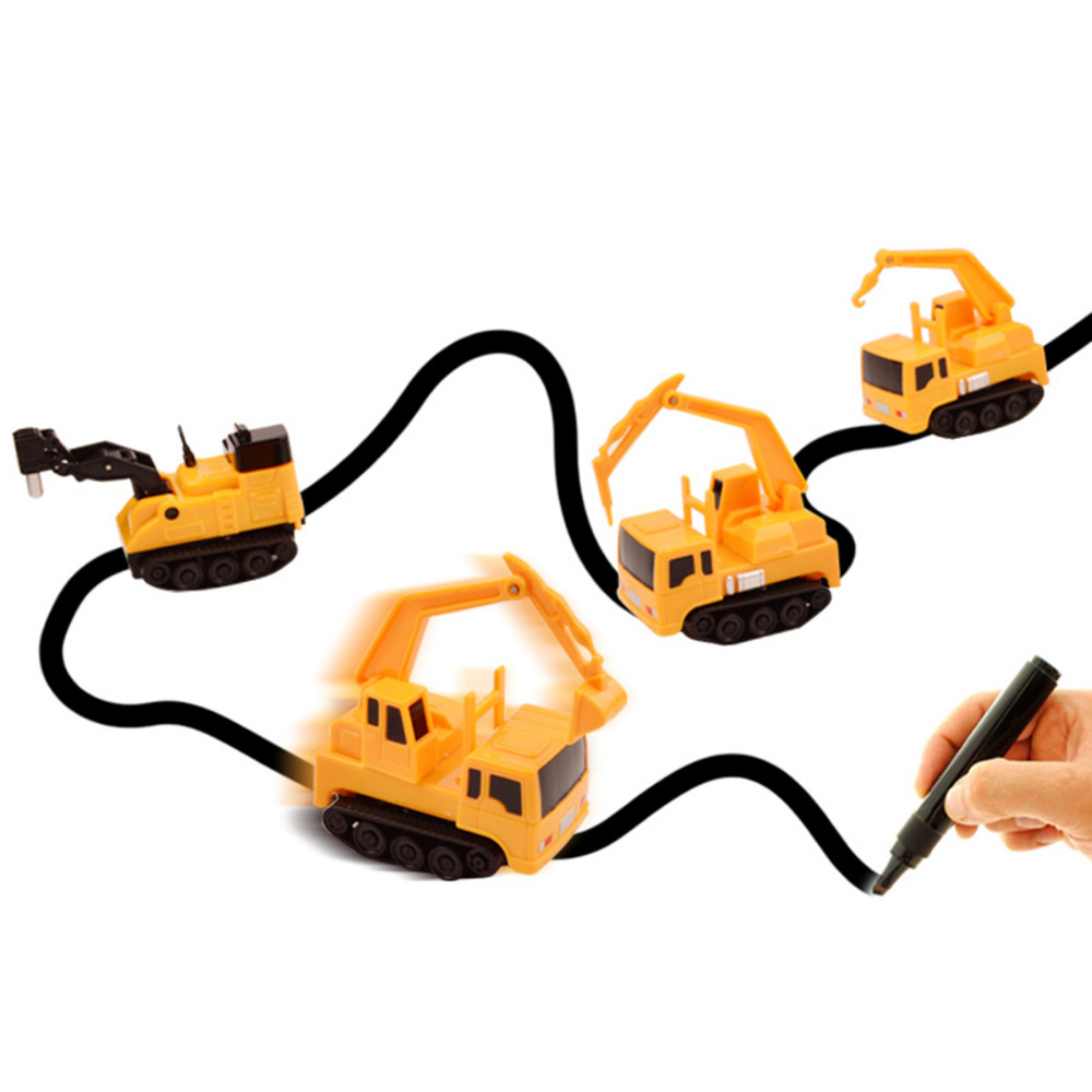 1pcs Magic Pen Inductive Car Tank Truck Follow Any Drawn Black Line Track Mini Toy Engineering Vehicles Educational Toy 6