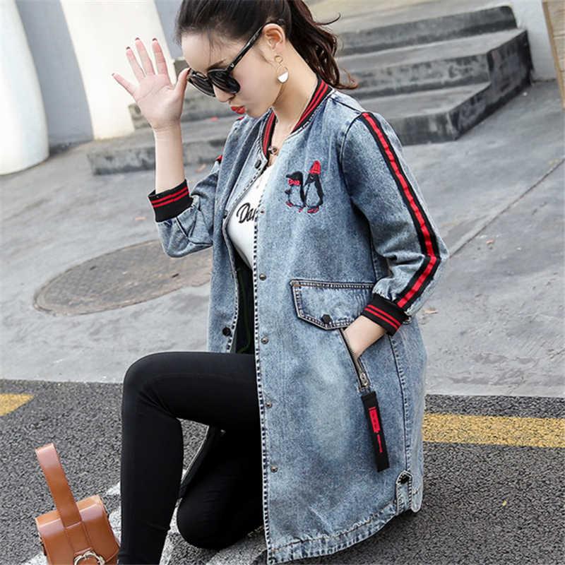 Embroidery Denim Jacket Coat Spring Long Ripped Denim Jacket Women Plus Size Jeans Jacket Women 2018 Tops B298