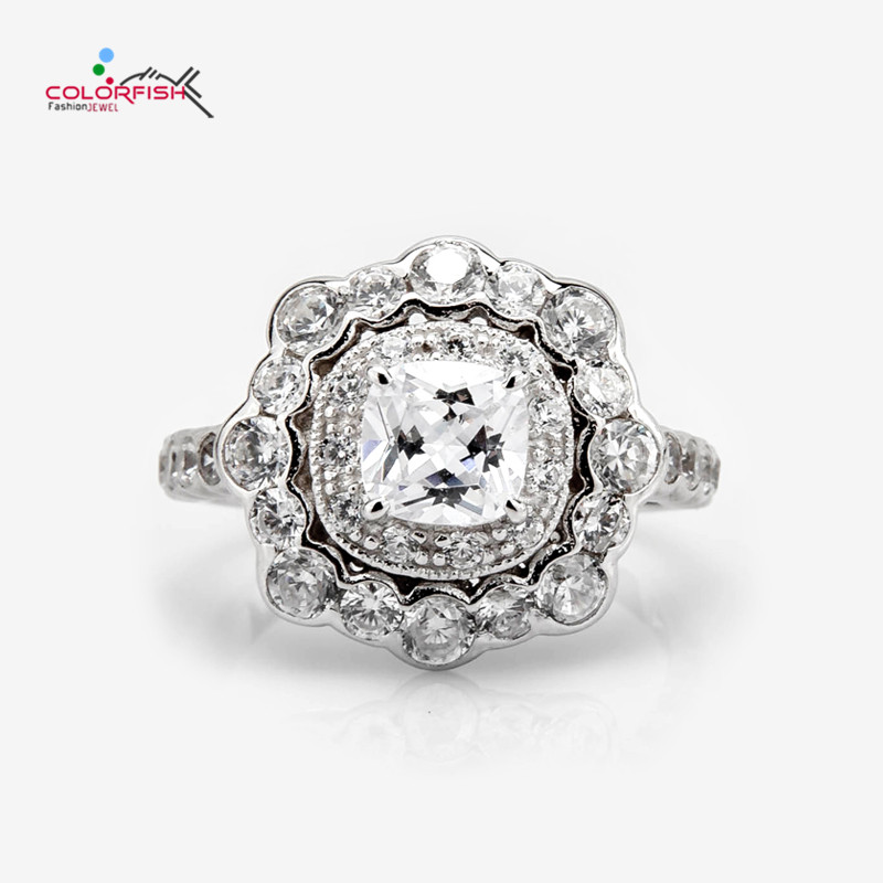 COLORFISH 1 CT Cushion Solid 925 Sterling Silver Halo Engagement Ring For Women Vintage Flower Design SONA Female Finger Ring
