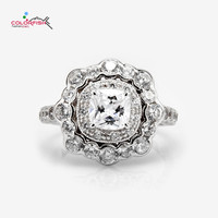 COLORFISH Solid 925 Sterling Silver 1 ct Cushion Halo Engagement Ring For Women Flower Style Bezel Prong Set Female Wedding Ring