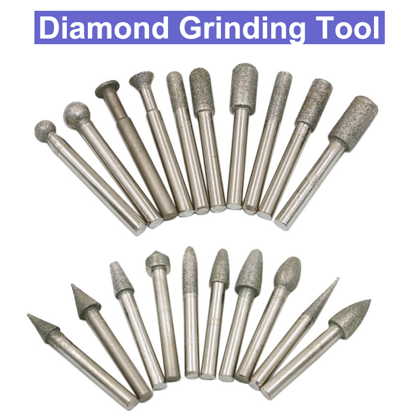 US $10 59 33% OFF|20pcs 6mm Shank Diamond Grinding Burr Drill Bits Sets For  Dremel Rotary Tools Points Polishing Abrasive Electric Grinder Milling-in