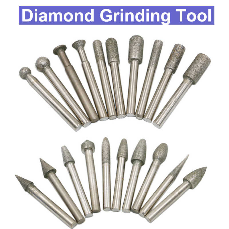 6-30mm Diamond Grinding Heads Spherical Coated Burrs Bit for Rotary Tool 1~20pcs