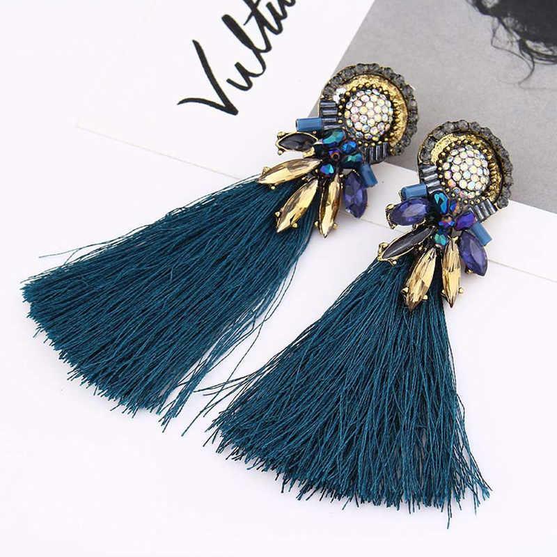 JOUVAL Trendy ZA Rhinestone Tassel Earrings for Women Female Vintage Bohemian Fringed Statement Earrings Dangle Brincos Jewelry