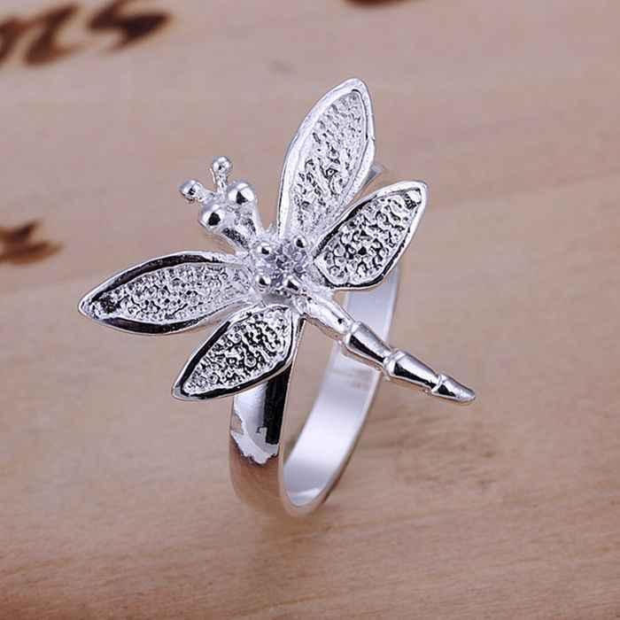 เงิน 925 แหวนแฟชั่น Zircon Dragonfly Silver เครื่องประดับ Ring แหวนผู้หญิงแหวนนิ้วมือของขวัญ SMTR017