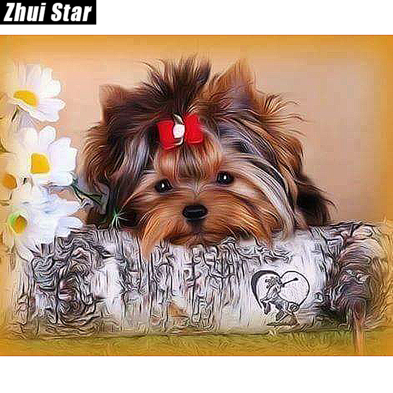 "New Full Square Diamond 5D DIY Diamantmaleri ""Cute Dog"" Broderi Korssting Rhinestone Mosaic Maleri Indretningsgave"