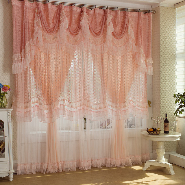 Luxury Pink Lace Window Blinds Custom Made Wedding Curtain Backdrops Romantic Living Room Curtains Drapes Curtains