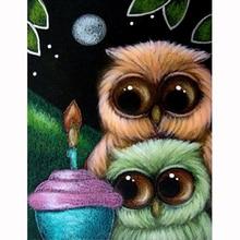 YIKEE owl diamond embroidery Full Drill Diamond Embroidery Sale Handmade Wall Decor Scenery Mosaic Crystal  h1604