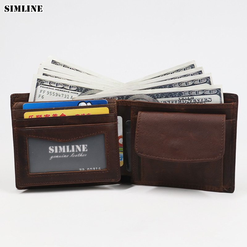 SIMLINE Äkta Läder Män Plånbok Rfid Blockering Vintage Cowhide Kort Bifold Plånböcker Purse Card Holder With Coin Pocket Male