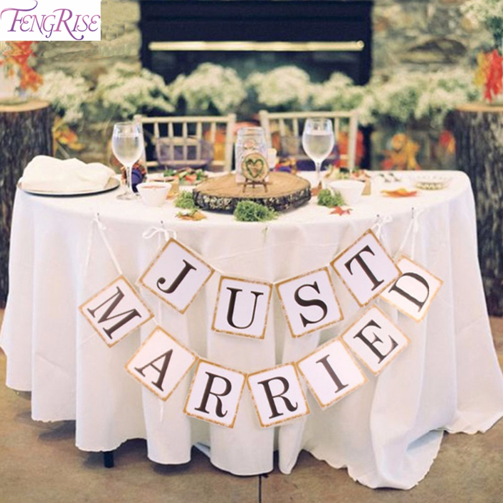 FENGRISE Just Married Banner Party Wedding Decoration Bunting Paper Garland Photography Car Sign Photo Booth Props Supplies