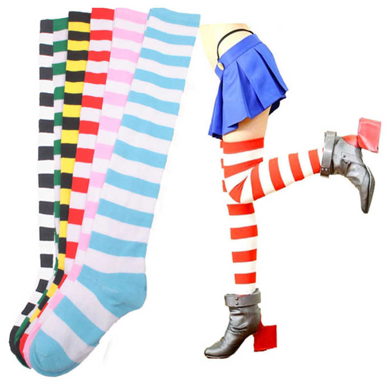 5894b3a640e Striped Thigh High Socks Over Knee Womens Halloween Cosplay Fashion 2018  New Arrival Cotton Striped Black