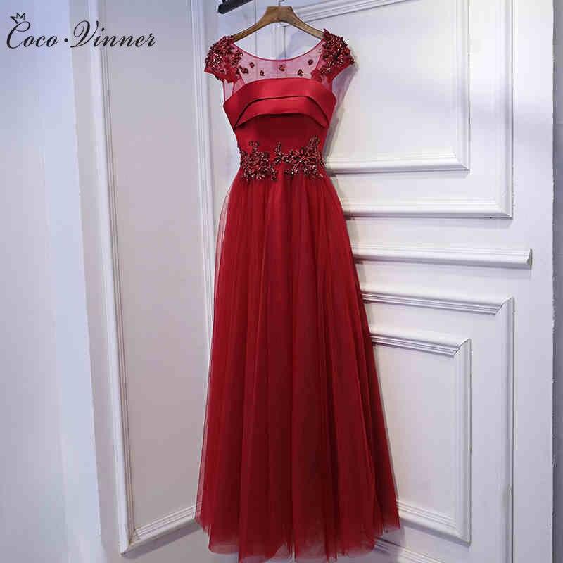 C V Beading Sequin Lace Long Evening dress 2019 new boat neck marry elegant formal dress