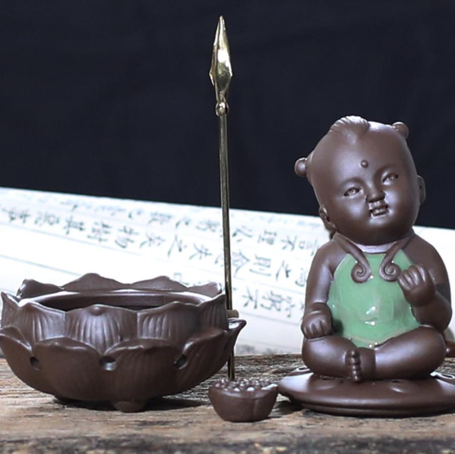 1 pièces petit bouddha brûleur d'encens en céramique Zen Ganesha encensoir bâton Porte-Encens diffuseur en céramique Bakhoor Porte Encens 60