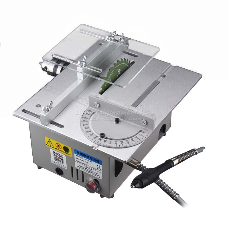 Miniature precision multi - function Mirco table saw bench saw T6 small cutting machine Q10032 mini multi function table saw bench drill grinding machine with 100w high power cutting machine tool accessories