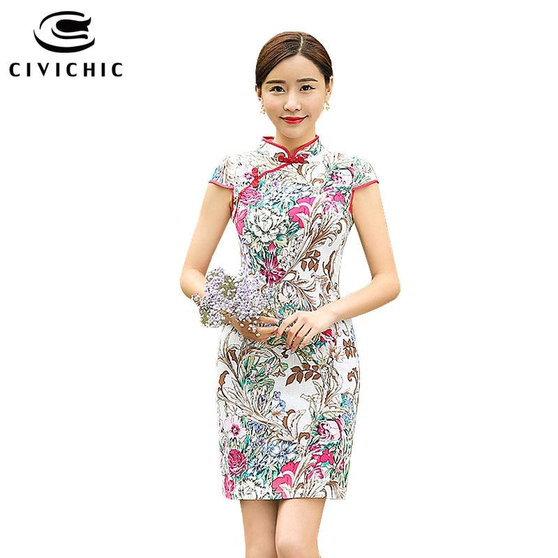 50d94385fc CIVICHIC 2016 Nowych Kobiet Qipao Slim Zmodyfikowany Krótkie Pościel  Bawełna Cheongsam Klasyczny Orientalne Retro Sukienka Elegancki Vestidos  QP107