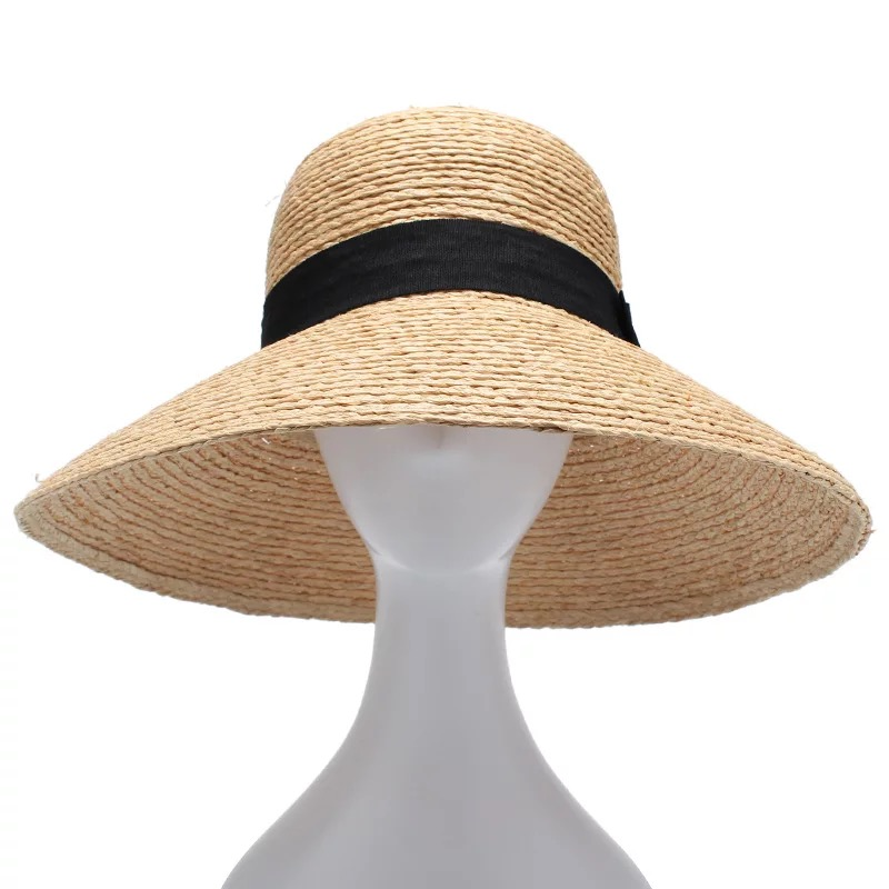Image 2 - 2018 New Raffia Women Straw Summer Sun Hats For Ladies Beach Hat Fashion Handmade Large Wide Brim Bucket Visor Caps Gift-in Women's Sun Hats from Apparel Accessories