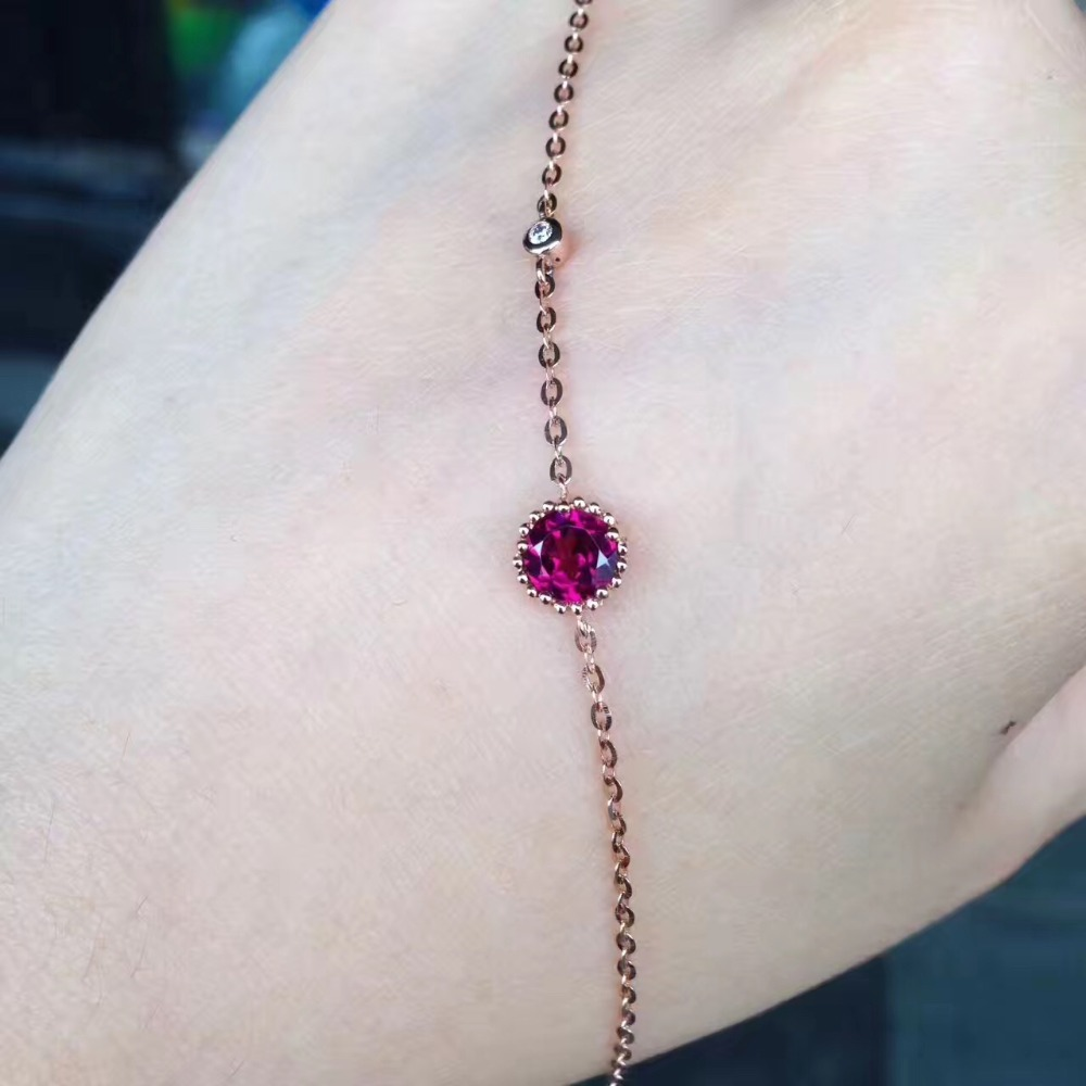 gemstone natural garnet bracelet 18K rose gold with diamond simple style fine women & girl jewelry free shipping