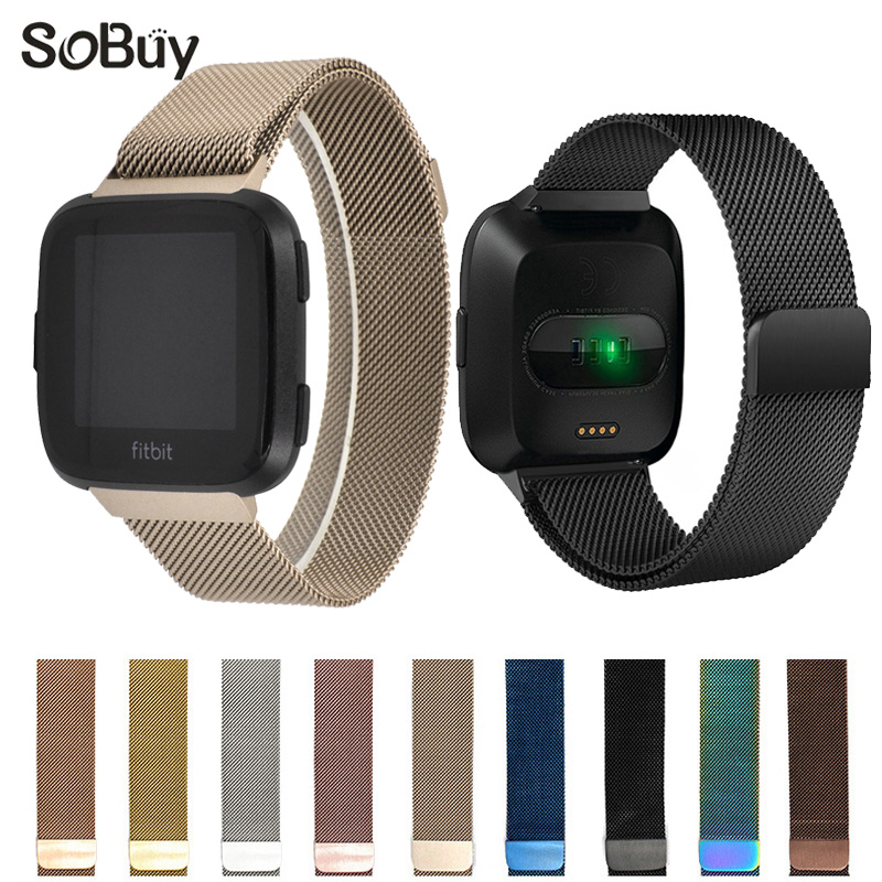 Lxsmart for fitbit versa stainless steel bracelet Milan Nice loop wristband magnetism New watch strap metal bracelet versa band