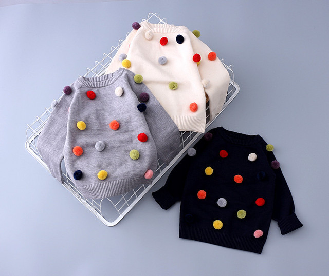 Otoño niños suéter de color bolas de bebé muchachos del niño de moda suéter de algodón + lana de punto cardigans suéter de los bebés ropa