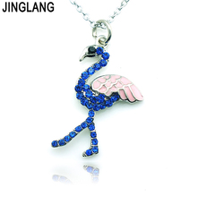 Fashion Luxurious Flamingo Silver Alloy Rhinestone Pendant Necklace For Women Creative Gift