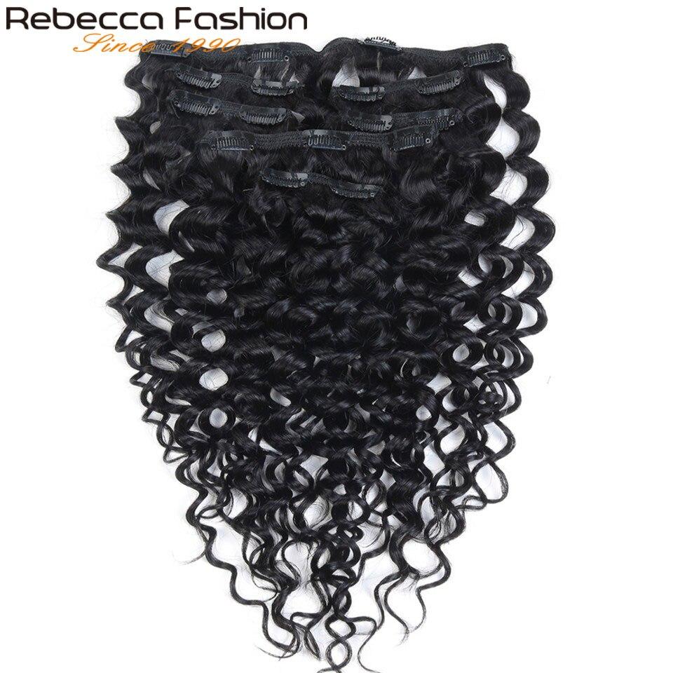 Rebecca Moda Clipe 7 Pcs Em Extensões Do Cabelo Humano Jerry Onda Cor # 1B pçs/set 7 Cabeça Cheia Humano Peruano cabelo Remy Tece Cabelo