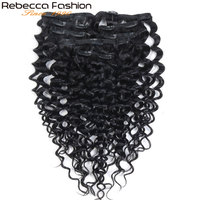 Rebecca Fashion Clip 7Pcs In Human Hair Extensions Jerry Curl Color#1B Full Head 7Pcs/Set Peruvian Human Hair Remy Hair Weaves